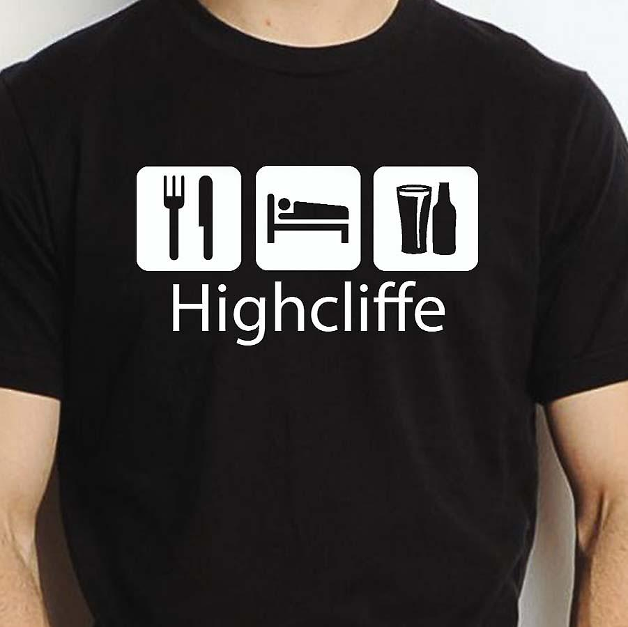 Eat Sleep Drink Highcliffe Black Hand Printed T shirt Highcliffe Town