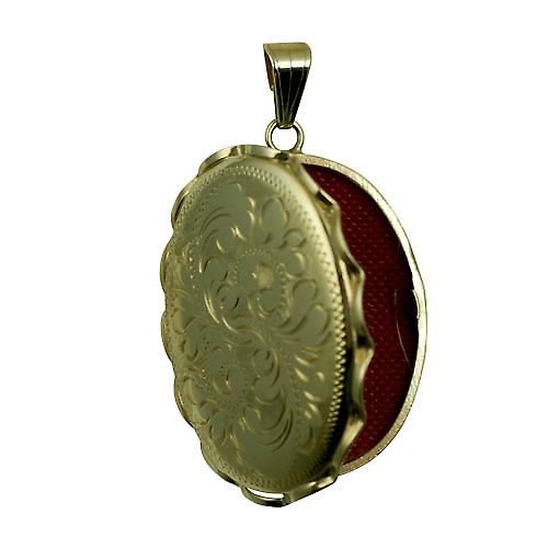9ct Gold 37x28mm oval hand engraved fancy wire edge Locket