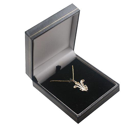 9ct Gold 20x18mm Prince of Wales Feathers Pendant with a cable Chain 16 inches Only Suitable for Children