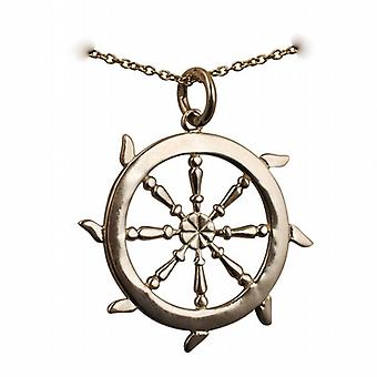 9ct Gold 17mm solid Ships Wheel Pendant with a cable Chain 20 inches