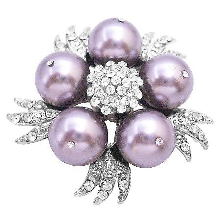 Pearls Brooch Cake Match Your Dress w/ Swarovski Mauve Brooch