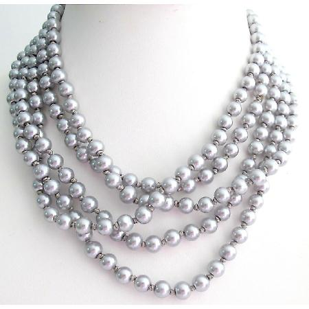 Hand Knotted 100 Inches Long Silver Grey Pearl Necklace Statement