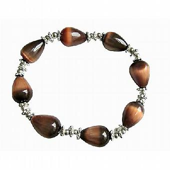 Brown Teardrop Stretchable Bracelet Brown Cat Eye Daisy Spacing Beads