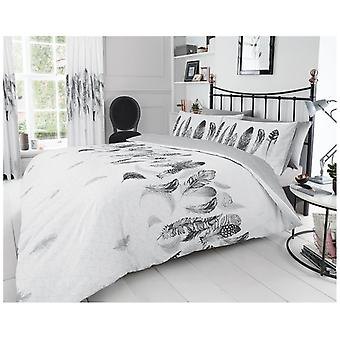 Feathers Birds Modern Duvet Quilt Cover Reversible Bedding Set with Pillow Case
