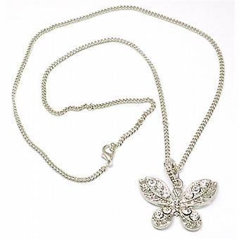 The Olivia Collection Silvertone Acrylic Set Butterfly Pendant on 19