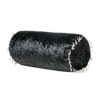 Luxurious Crushed Velvet Bolster Pillow - Ebony