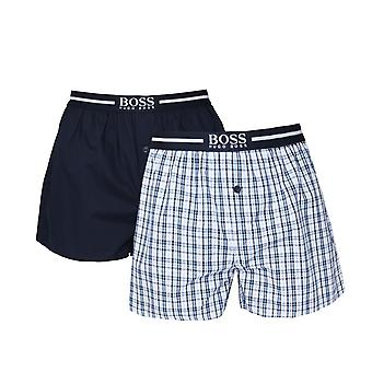 BOSS Bodywear 2 Pack Navy check vævet bokser shorts