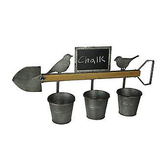 Farmhouse Birds and Shovel Wall Mount Triple Planter with Chalkboard