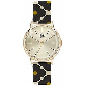 Orla Kiely Patricia Flower Print Leather Strap OK2074 Watch