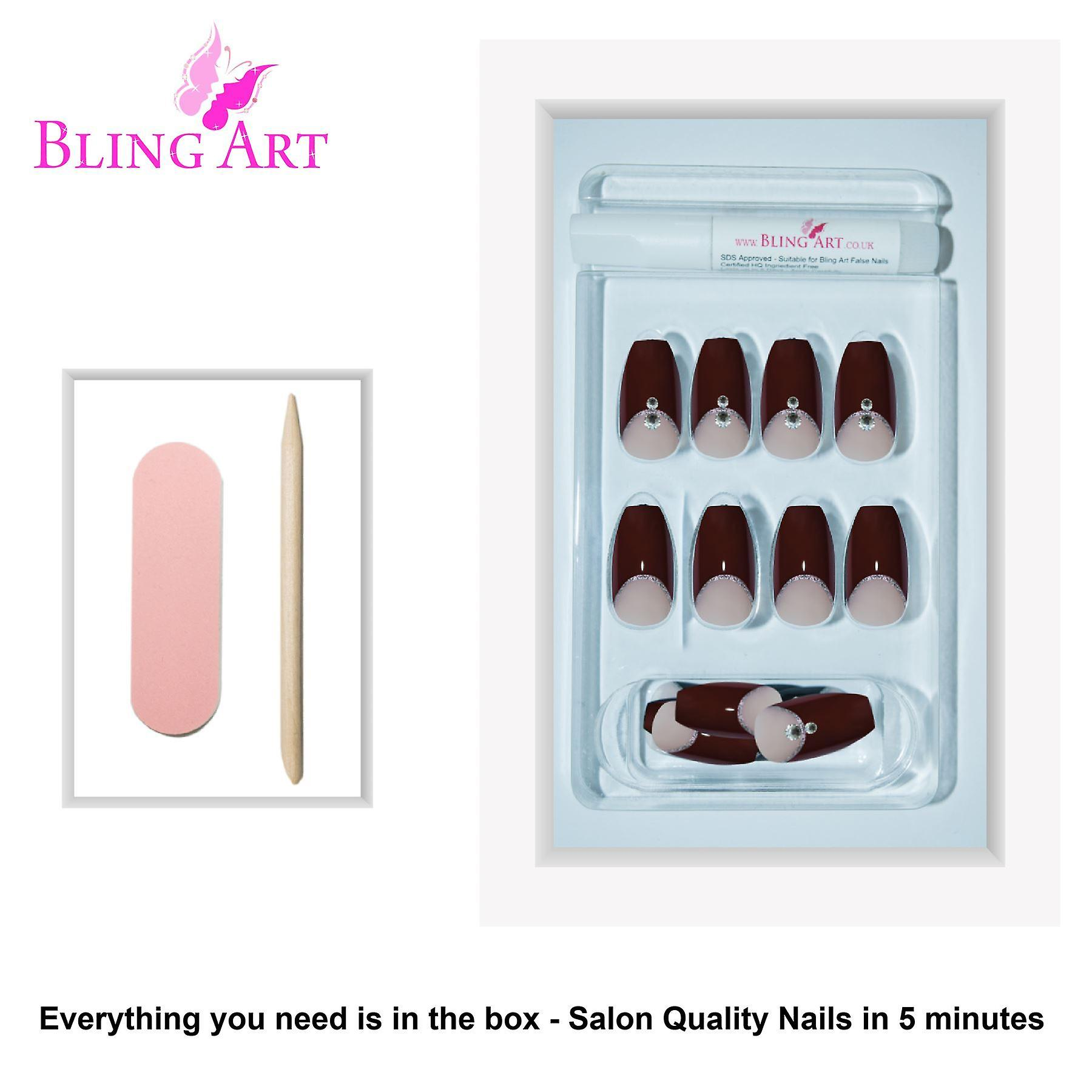 False nails by bling art red crystal polished ballerina coffin long fake tips
