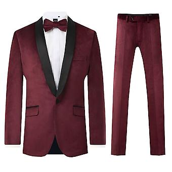 Dobell Mens Burgundy Velvet 2 Piece Tuxedo Regular Fit Contrast Shawl Lapel