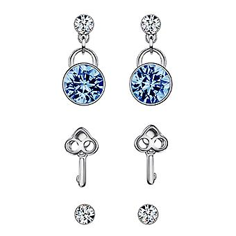3 in 1 - 925 Sterling Silver Auden Crystals Earrings Set