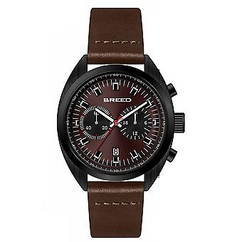 Breed Racer Chronograph Leather-Band Watch w/Date - Black/Brown