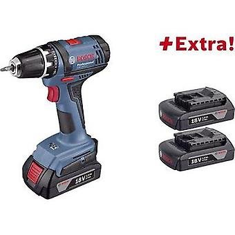 Bosch Professional GSR 18-2 LI Cordless drill 18 V 1.5 Ah Li-ion incl. third battery, incl. case