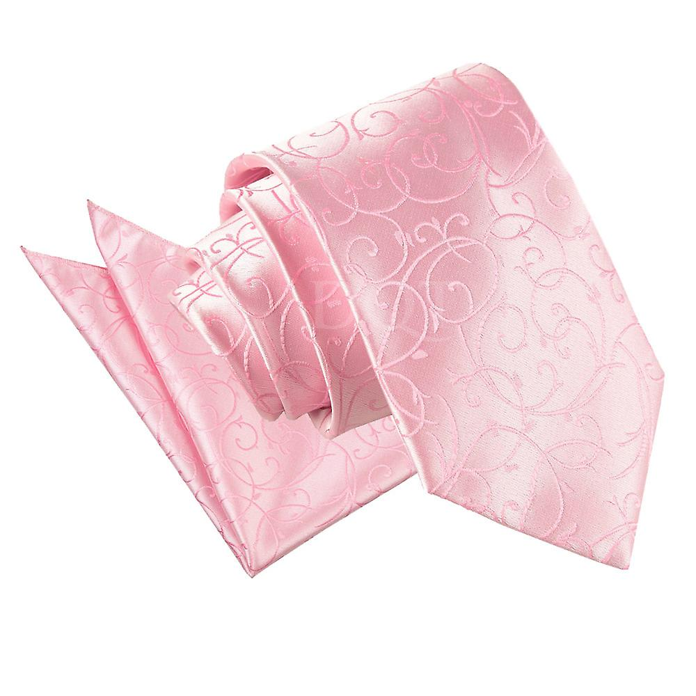 Baby Pink Swirl Patterned Tie and Pocket Square Set