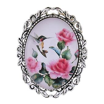 Brooches Store Vintage Pink Rose Flower  and  Hummingbird Glass Cameo Oval Brooch