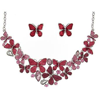 Silver and Multi Red Enamel and Crystal Butterflies Necklace and Earrings Set