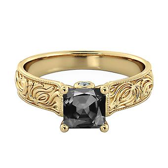 14K Yellow Gold 3.06 CTW Black Diamond Ring with Diamonds Vintage Hand Engraved Art Deco