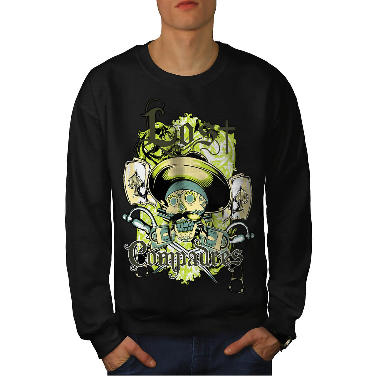Lost Compadres Cool Skull Mexico Man Men Black Sweatshirt | Wellcoda