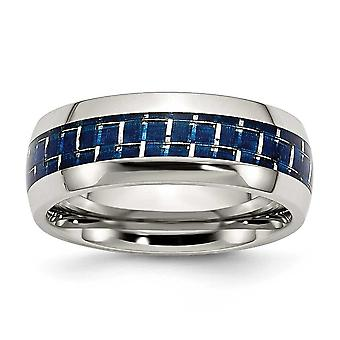 Edelstahl blau Carbon Fiber Inlay poliert Bandring - Ring-Größe: 6 bis 13