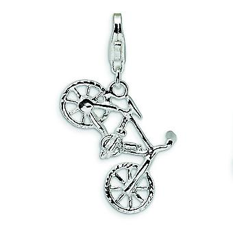 Sterling Silver Rhodium-plated Fancy Lobster Closure 3-D Polished Bicycle With Lobster Clasp Charm - Measures 30x17mm