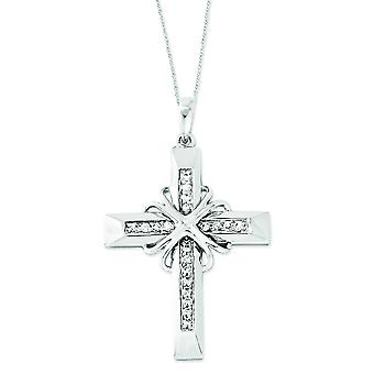 Sterling Silver Cubic Zirconia Steadfast Love 18inch Cross Necklace
