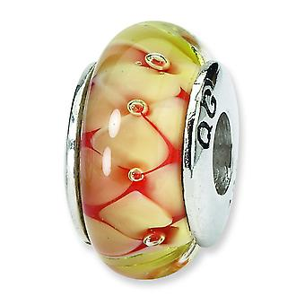 Silver St. reflets jaune Floral Murano Glass Bead Charm