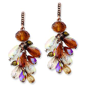 Copper-tone Multicolor Acrylic Beads Post Dangle Earrings