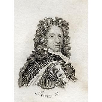 Jakob Ii Aka hertug av York 1633-1701 konge av Storbritannia og Skottlands konge som James Vii fra boken Crabbs historiske ordlisten publisert 1825 PosterPrint