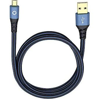 USB 2.0 Cable [1x USB 2.0 connector A - 1x USB 2.0 connector Micro B] 5 m Blue gold plated connectors Oehlbach