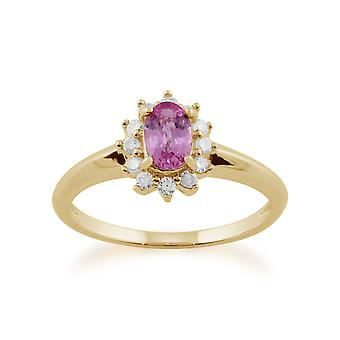 Gemondo 9ct Yellow Gold 0.52ct Pink Sapphire & Diamond Oval Cluster Ring