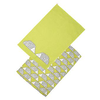 Scion Living Spike the Hedgehog Set of 2 Tea Towels, Lime Green