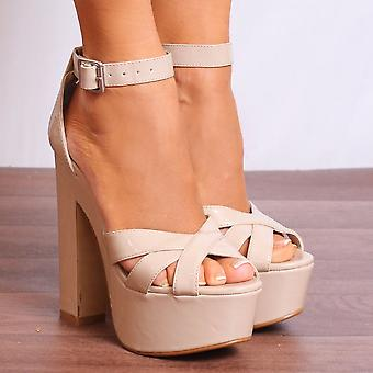 Koi Couture Ladies Fg1 Nude Patent Platforms Strappy Sandals High Heels