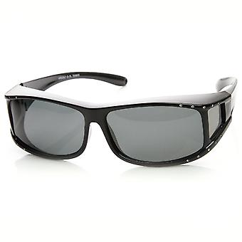 Womens Rectangle Polarized Lens Cover Wrap Sunglasses with Side Lens