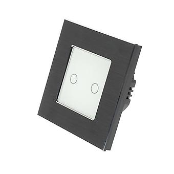 I LumoS Black Brushed Aluminium 2 Gang 1 Way Remote & Dimmer Touch LED Light Switch White Insert