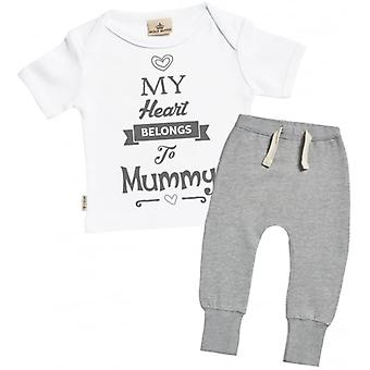 Spoilt Rotten Heart Belongs To Mummy Baby T-Shirt & Joggers Outfit Set