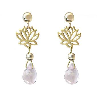 Lotus flower with Rose Quartz drops pink boho style 3.5 cm gold plated ladies earrings