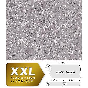 Uni wallpaper EDEM 9076-25 non-woven wallpaper coined in trowel finish and metallic effect silver grey 10.65 m2
