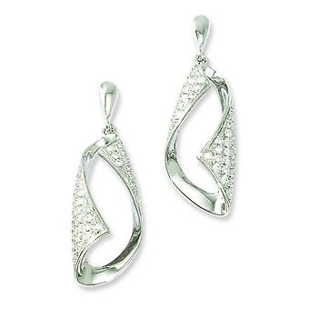 Sterling Silver Pave Rhodium-plated and Cubic Zirconia Fancy Dangle Post Earrings