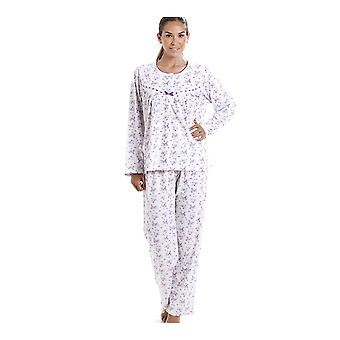 Camille Classic bomull Jersey lilla Floral Print Pyjama sett
