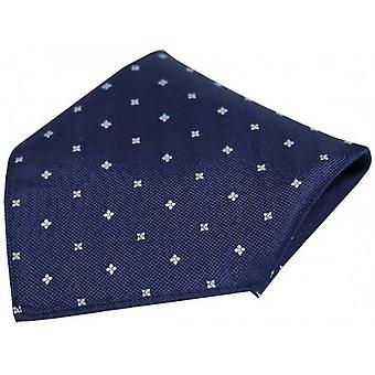 David Van Hagen Small Flowers Silk Pocket Square - Navy