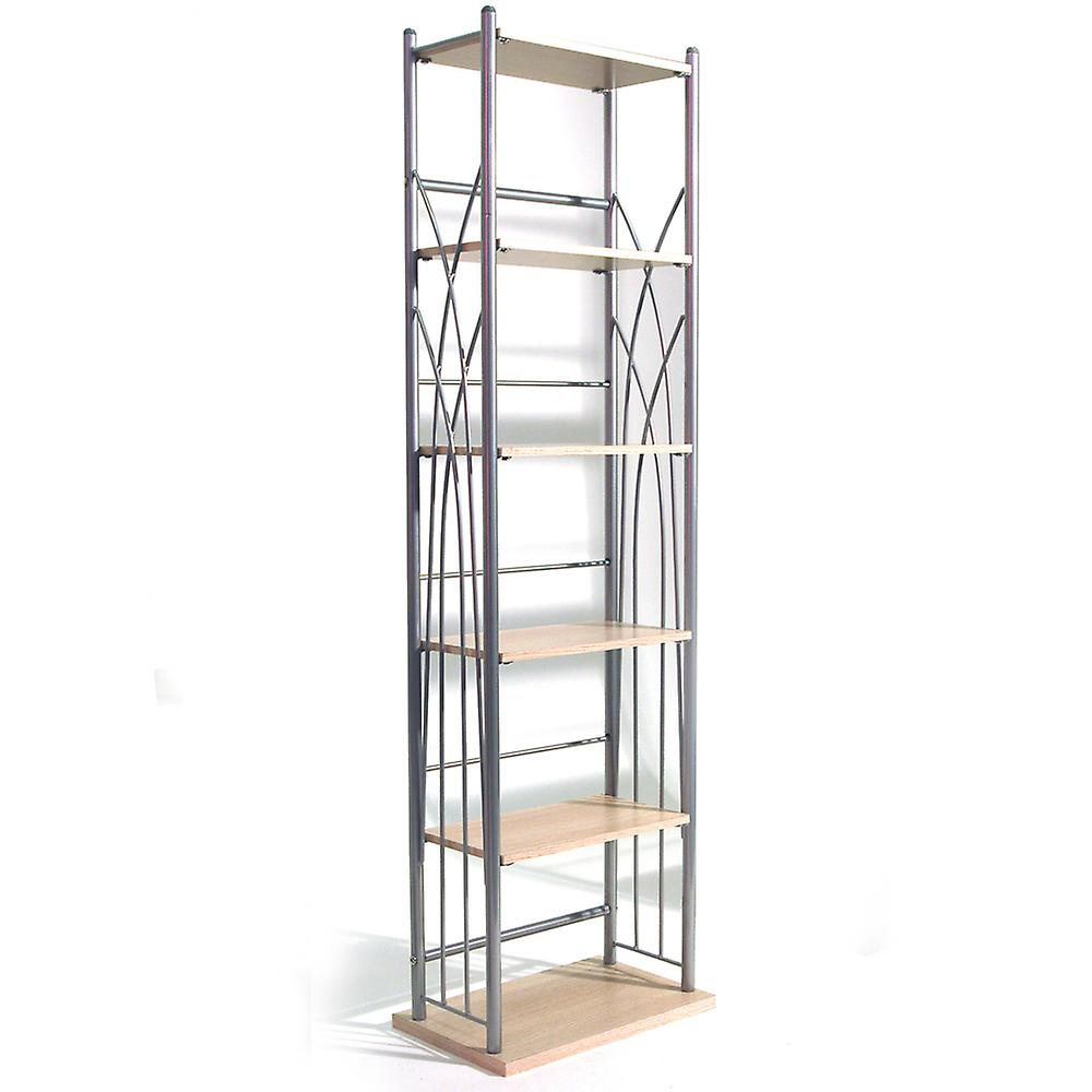 Dakota - 100 Dvd Blu-ray / 150 Cd Media Storage 5 Tier Tower Shelves - Silver