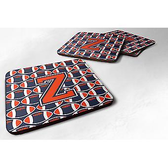 Set of 4 Letter Z Football Orange, Blue and white Foam Coasters Set of 4