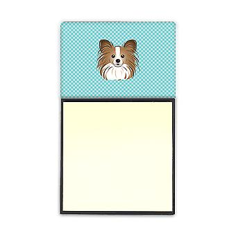 Checkerboard Blue Papillon Refiillable Sticky Note Holder or Postit Note Dispens