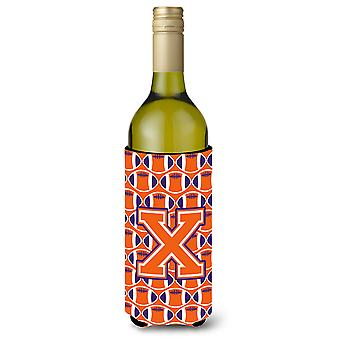 Letter X voetbal oranje, wit en Regalia wijnfles drank isolator Hugge
