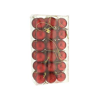 36 Mini Red Shatterproof Baubles - Christmas Decorations - 3cm