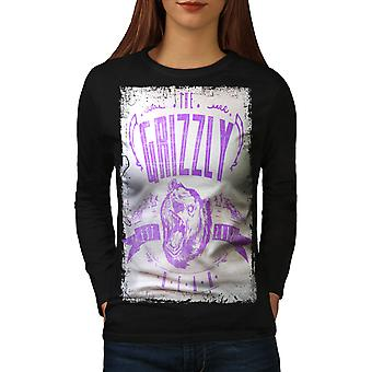 Grizzly Bear Club Women BlackLong Sleeve T-shirt | Wellcoda