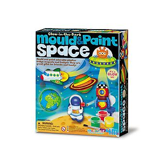 Glow in the Dark Space Themed Mould & Paint Craft Kit for Kids - Age 5+