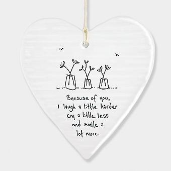 East Of India Hanging Heart Sentiment Gift Because Of You