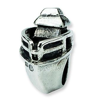 Sterling Silver Polished Antique finish Reflections Boat Bead Charm